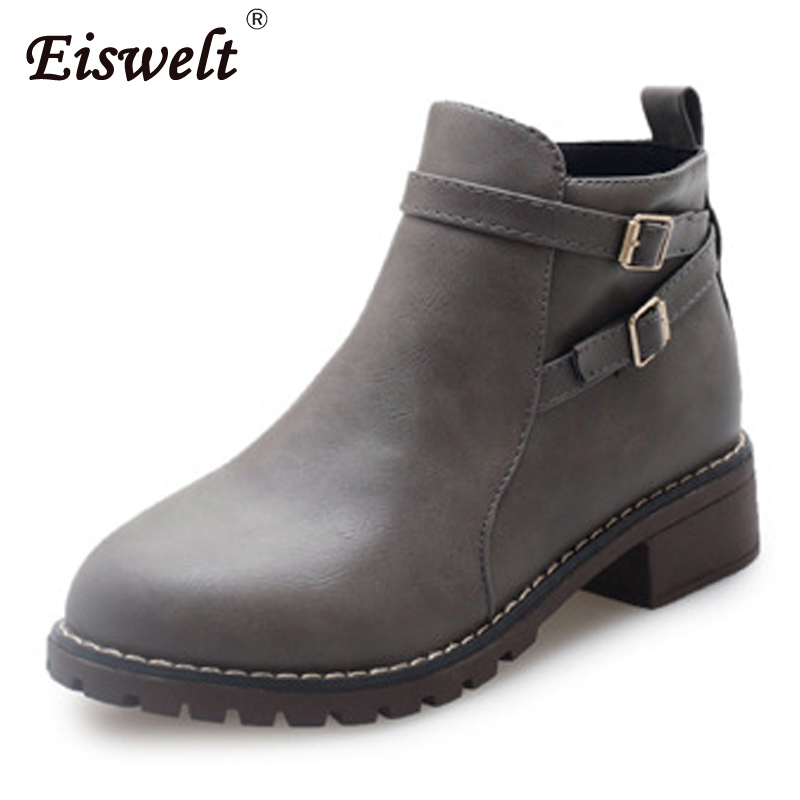 EISWELT Ladies Boots Women Leather Ankle Boots Fashion Zip Buckle Boots Female Casuaol Platform Low Heels Shoes#ZQS116 eiswelt women zip ankle boots heels women soft leather platform shoes female wedges shoes zqs185