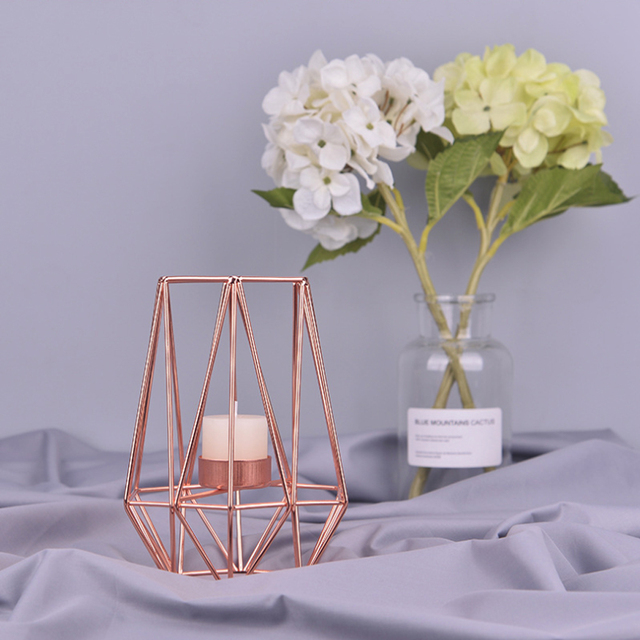 Nordic Style Wrought Iron Geometric Candle Holders Home Decorate Metal Crafts candlestick candelabros de velas Holder mesa 3