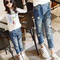 Jeans rasgado Para As Crianças Adolescentes 5 6 7 8 9 10 11 12 13 14 15 Anos Bebê Meninas Denim Calças Skinny de Cintura Elástica Crianças Trajes