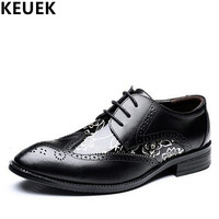 Luxury Fashion Men Dress Shoes Lace Up Pointed Toe Brogue Shoes Male Flats Big Size Youth