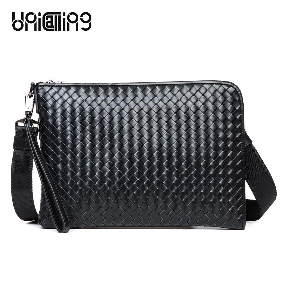 UniCalling Luxury messenger bag men leather brand men's genuine leather casual bag cow leather knitting men crossbody bag
