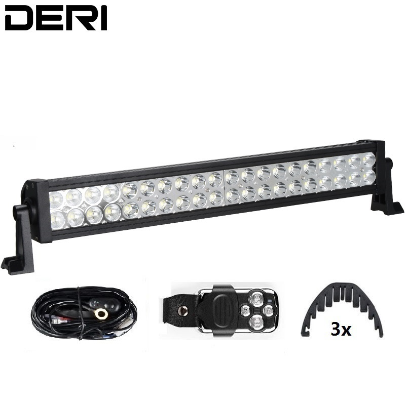 22inch 120W Straight LED Work Light Bar Driving Car Truck SUV Off Road Fog Lamp with Wiring Kit Wireless Remote Control Isolator 4 21w round off road car led work light spot beam car driving fog lamp truck with free shipping