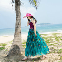 Women Dress Peacock Feather Sleeveless Sexy Spring Summer Long Party Beach Dress High Quality Fashion Women Clothing Gorgeous