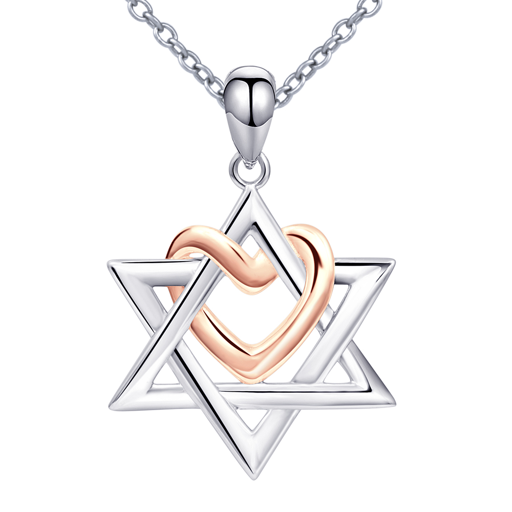 925 Sterling Silver Star of David with Rose Gold Color Love Heart The State of Israel Pendants&Necklaces For Women Jewelry Gift a suit of chic heart arrow necklaces for lover