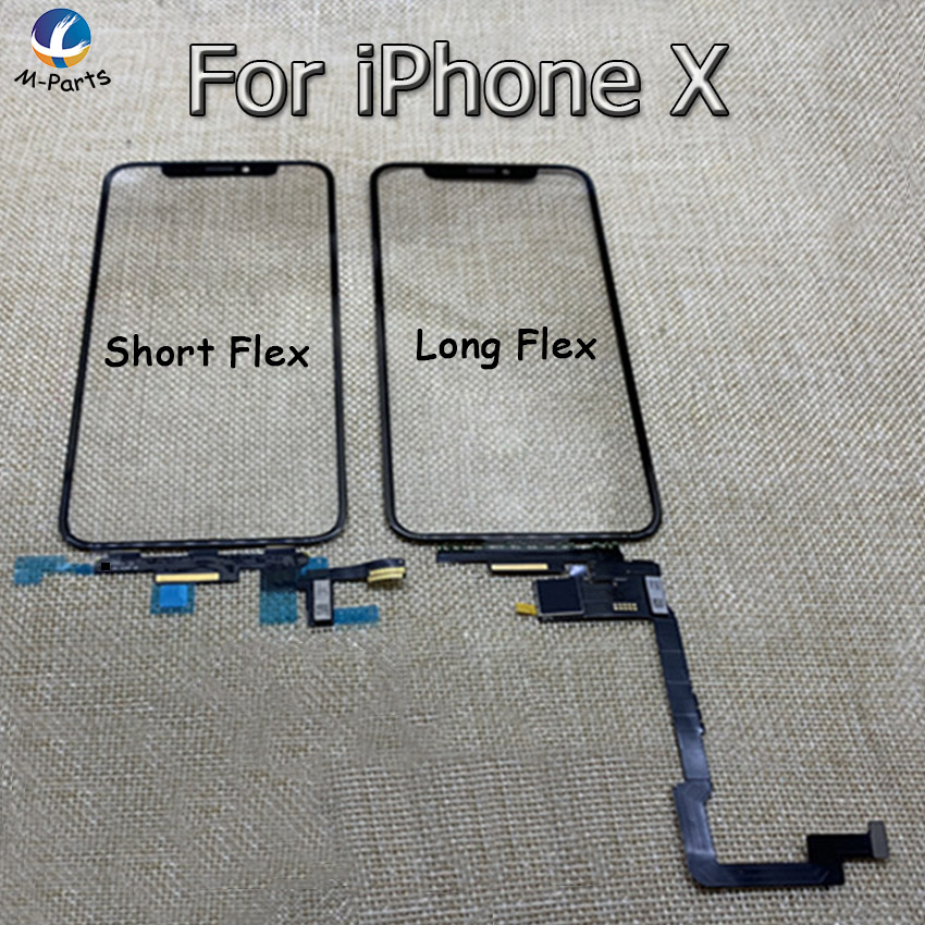 Original New Touch Glass Digitizer For iPhone X LCD Screen Front Outer Cover Lens Weld Long Flex Cable Repair Replacement AAA+++