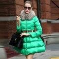 Женская мода 201 тонкий меховой воротник пуховик средней длины женский верхней одежды вниз пальто Юбка Куртка