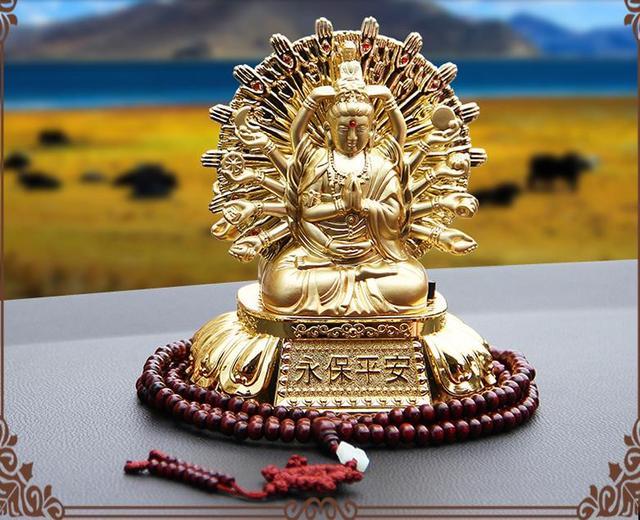 Avalokitesvara Buddha statue Goddess of Mercy qian shou guanyin safe car Blessing lucky Bless health home decoration Bright 888