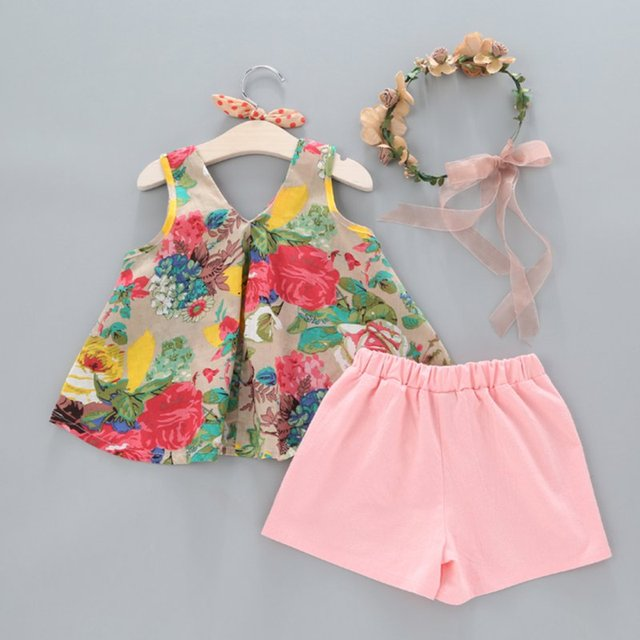 Summer Floral Printed Sleeveless Baby Vest Tops & Shorts Sets For Girls Kids Clothes Outfit Suits