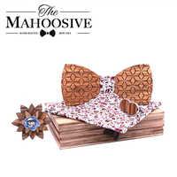 Fashion Mens bow tie set Handkerchief Cufflinks wooden bowtie wedding tie Wooden Ties Gravata set wedding gift for man