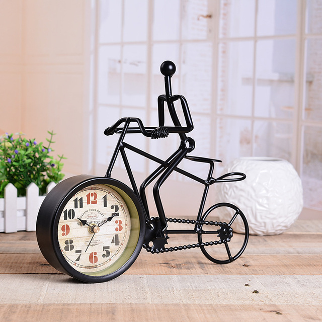 Rustic Metal Bicycle Desk Clock Bike Home Decoration Table Ornament Charm Antique Style Ideal