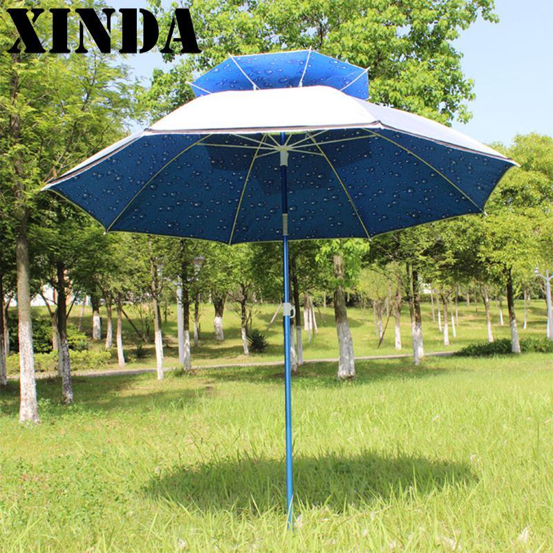 2.2m Universal Outdoor Fishing Umbrella Uv Sun Umbrella Double Layer Beach Umbrella DH0157 umbrella