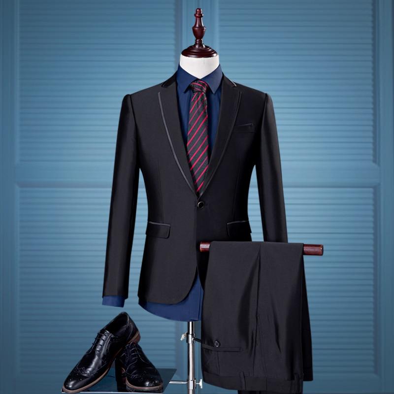 Couleur Loisirs Costumes Gray Pantalon Taille Costume Hommes dark Hommes Black Mariage 2018 Pièces 2 De Unie Grande Slim Blazer Banquet Robe wPqzWXF
