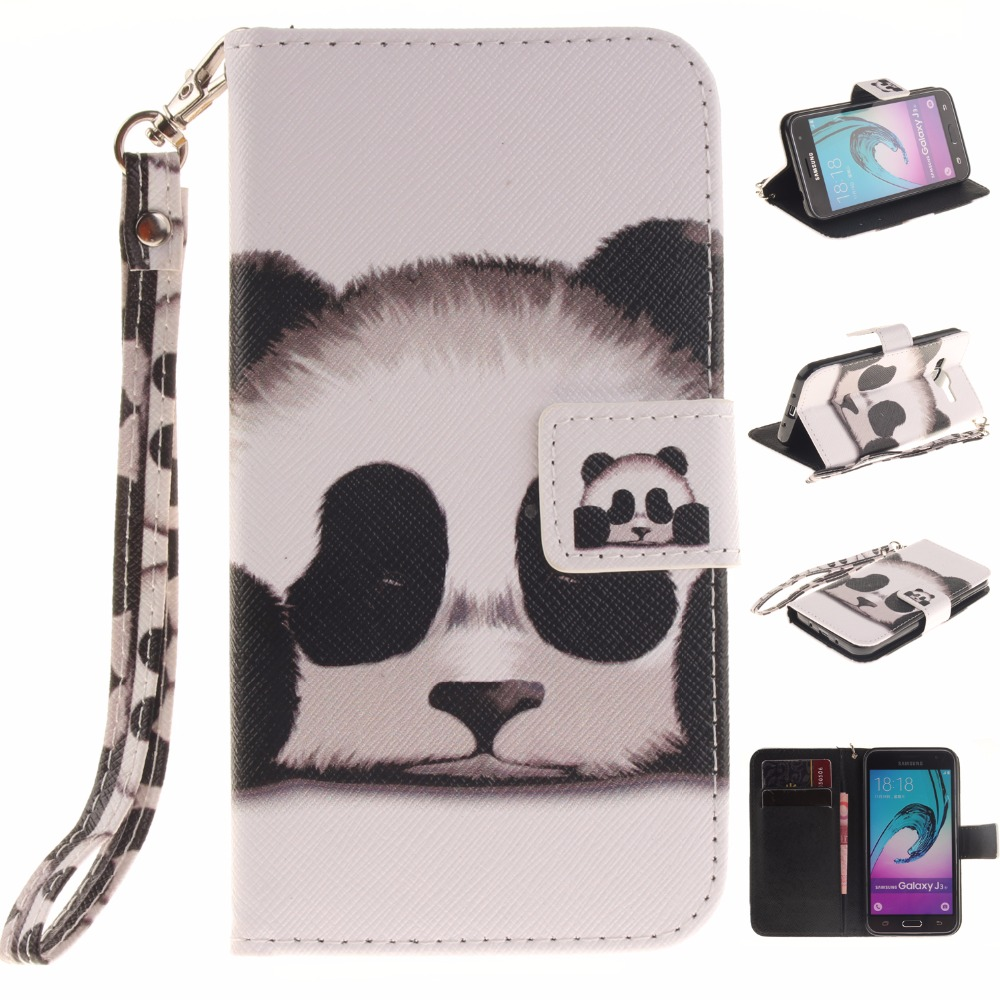 Cool PU Leather Wallet Case for coque Samsung Galaxy J3 2016 J320 J 3 J320f SM-J320F 5.0 Stand panda Cover Case fundas capa