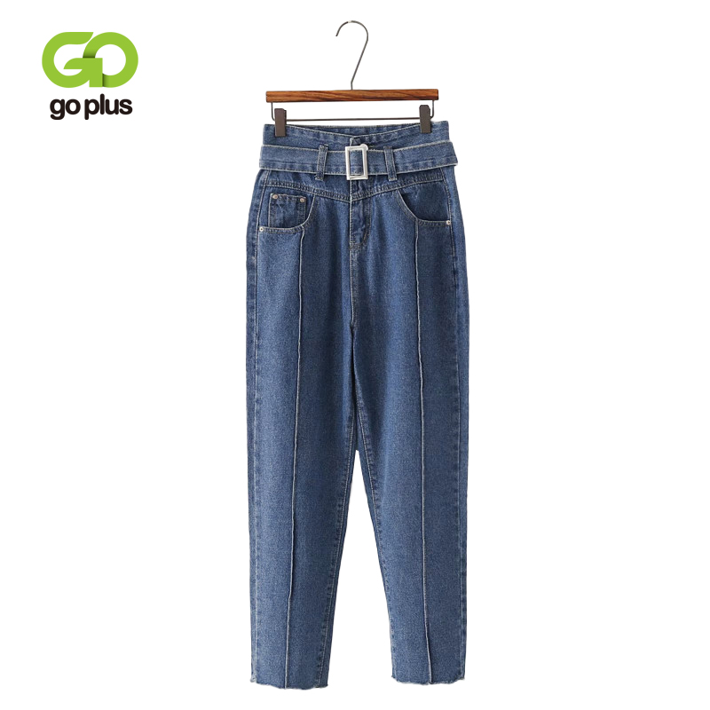 GOPLUS High Waist Boyfriend   Jeans   For Women Casual Loose Vintage Belt Denim Haren Pants 2019 Autumn Winter Plus Size Chic   Jeans