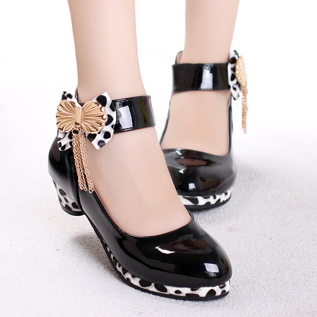Girls Princess Shoes 2018 New Spring PU Leather Children Wedding Shoes High Heels Bowknot Dancing Kids Dress Shoes