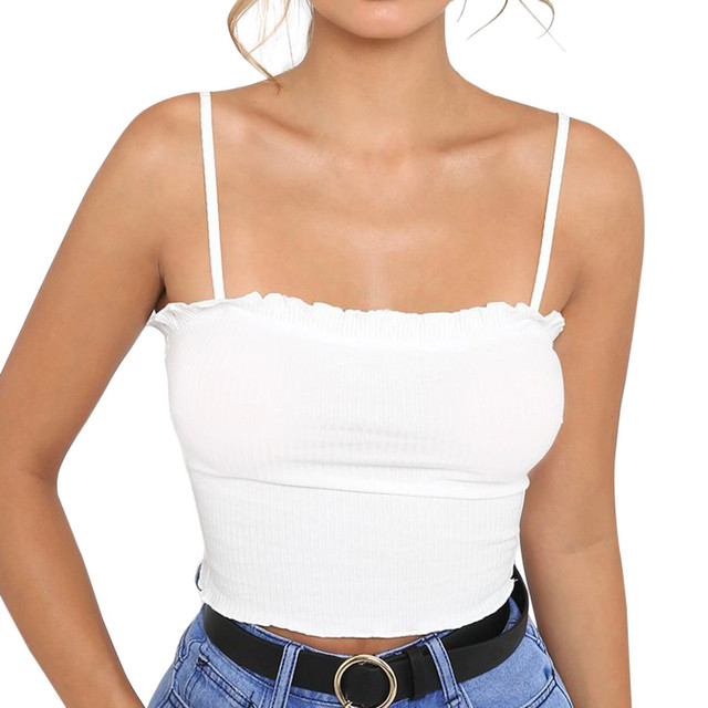 2018 Thời Trang Sexy Phụ Nữ Tank Tops Thời Trang Womens Ruffles Tank Top Vest Tắt Shoulder Halter Áo T-Shirt Điệu