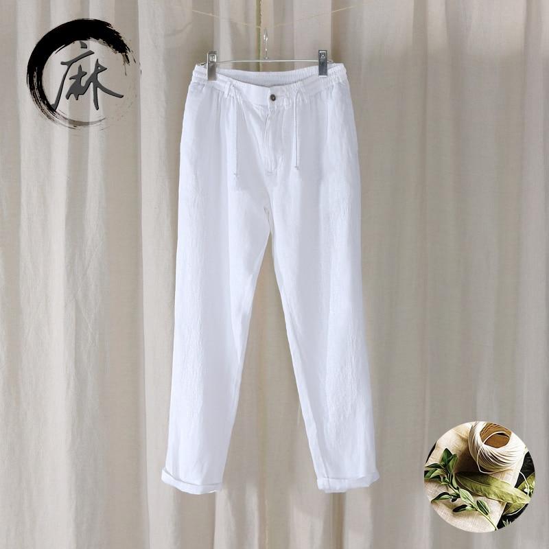 0e6e2af1482a 2018 Новые повседневные 100% лен Штаны Мужчины Длинная сплошной льна брюки  мужские модный бренд свободные