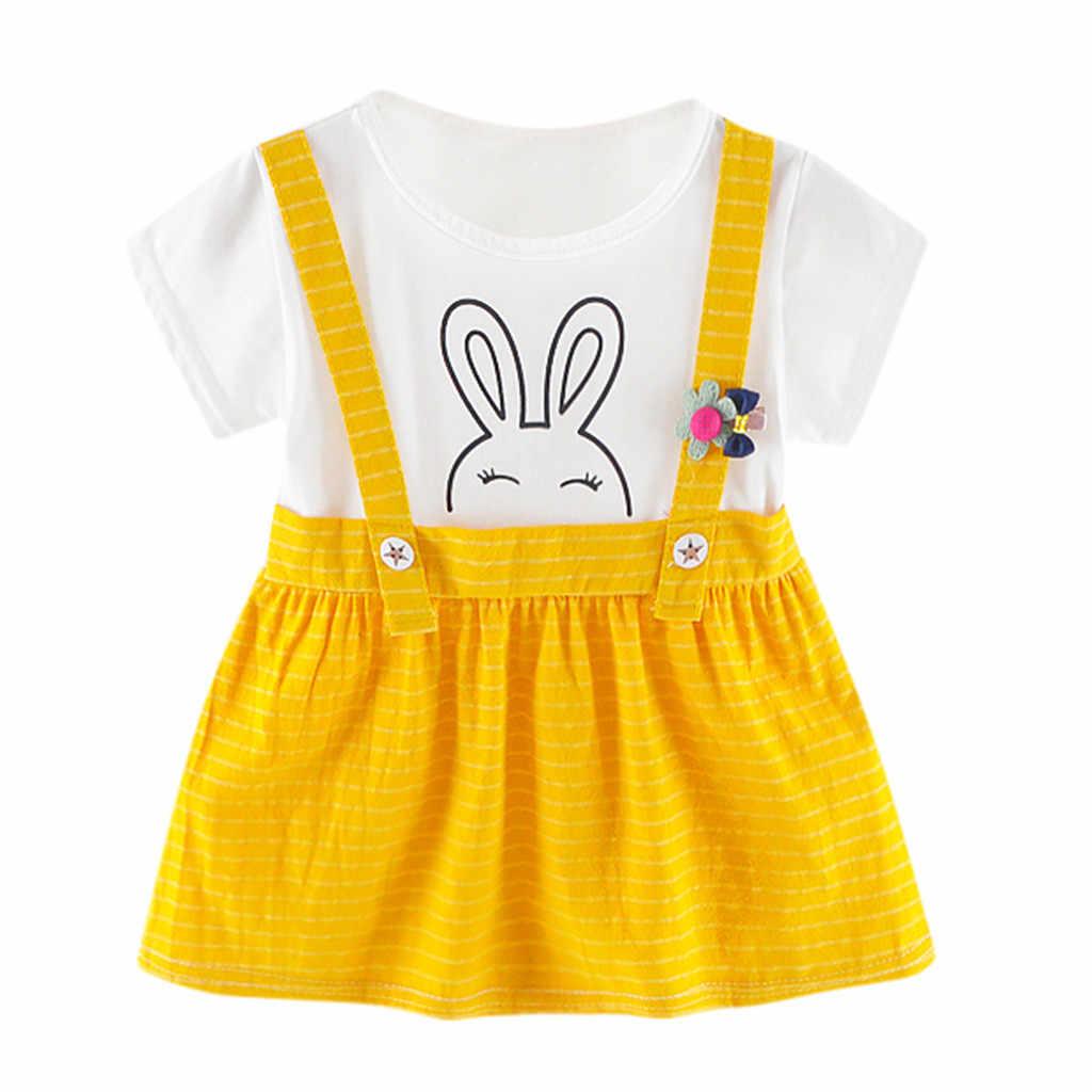 Новинка 2019 года, платья для маленьких девочек, одежда с рисунком кролика, праздничное платье принцессы в полоску с принтом, костюм для девочек