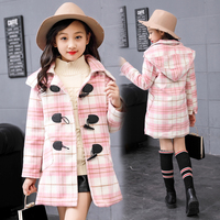 2017 High Quality Girls Winter Long Coat Children Fashion Horn Button Plaid Cotton Padded Wool Coat