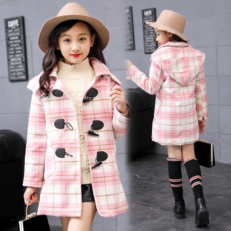 2018 High Quality Girls Winter Long Coat Children Fashion Horn Button Plaid Cotton-padded Wool Coat Kid Hooded Outerwear Jackets