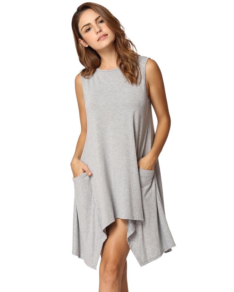 Plus Size 3xl New Women Summer Sleeveless Shirt Dress Asymmetrical