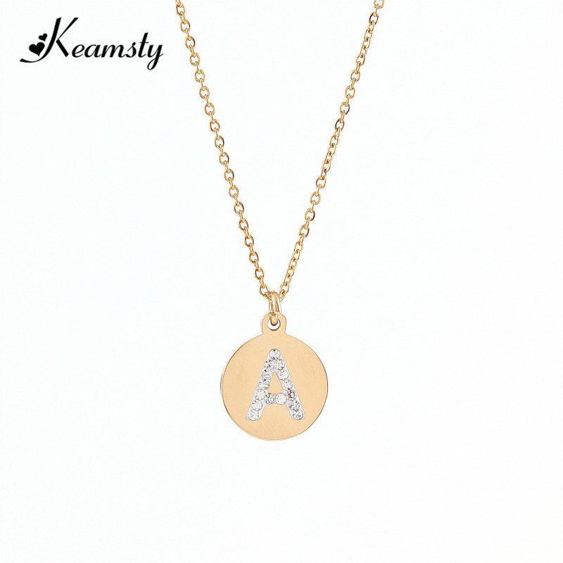 Keamsty Tiny Gold Initial Necklace Crystal Letter Round Plate Stainless Steel Custom Personalized Charm Necklaces Choker цена