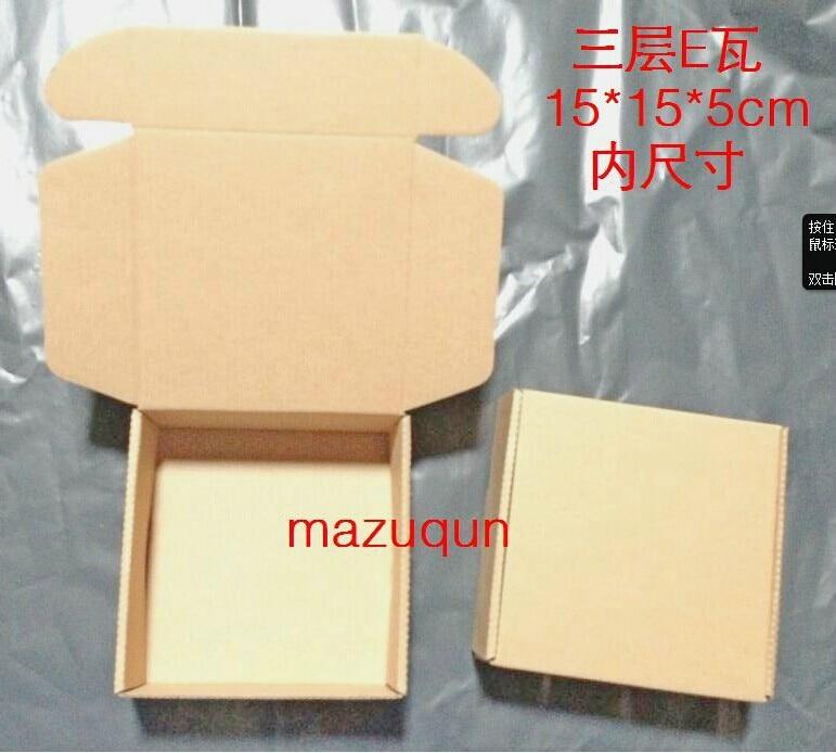 100pcs Free Shipping 15x15x5cm Diy Kraft Craft Jewelry Paper Bo Fine Handmade Packaging Box Carton Soap