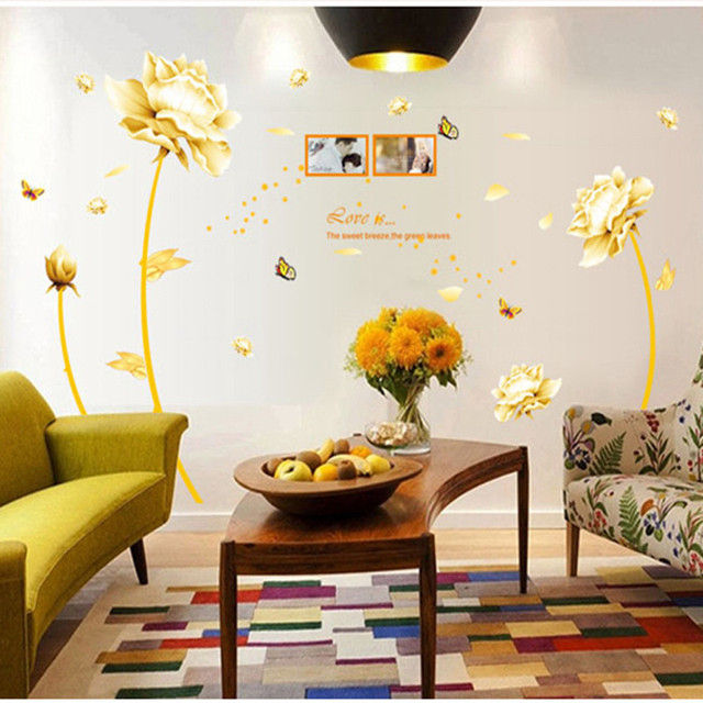 gold tulip flower wall stickers removable decal home decor diy art