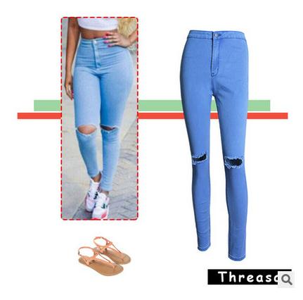 ee6859b22147 Europe And American Womens Slim Elastic Denim Pencil Pants Solid Color Hole  Womens Jeans Trousers Full Length Casual Pants J1427