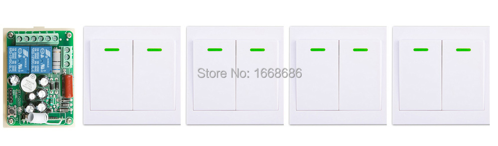 AC220V 2CH Wireless Remote Control Switch 1*Receiver +4*Wall Panel Remote Transmitters Sticky Remote Appliances Gate Garage Door black 2key 85v 110v 250v 1ch wireless remote control switch 1 receiver 4 transmitters for appliances gate garage door