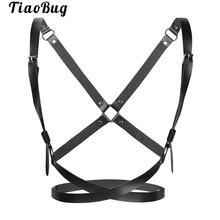 TiaoBug Sexy Women PU Leather Adjustable Body Chest Harness Costume Bondage Belt Ladies Hot X-shaped Straps Top with 5 O-rings