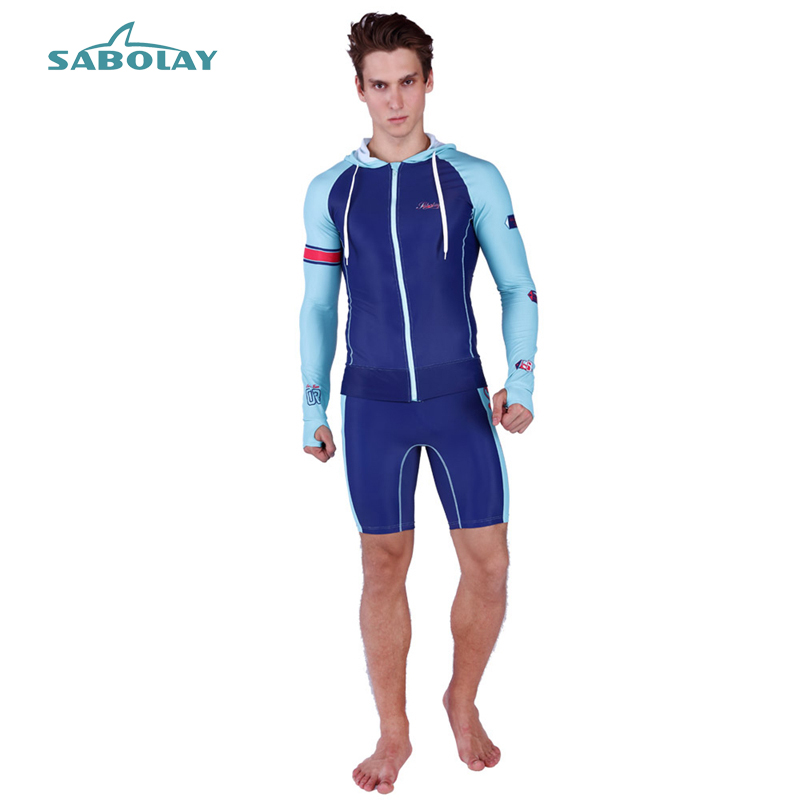 Rash Guard Suit Men Cardigan Elasticity UV Protection Long Sleeves Windsurf Surfing Tops Hooded Short Pants Swimsuit Swimwear