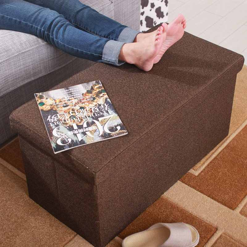 Storage organizer sofa new style flax collapsible multifunction storage box stool fashion Pastoral Fabrics armchair storage box