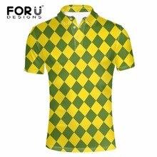 FORUDESIGNS 3D Plaid Camisa Dos Homens do Polo de Moda Polo de Manga Curta  para Homem Marca de Roupas Respirável Masculino Camis. bbe98fd7244c9