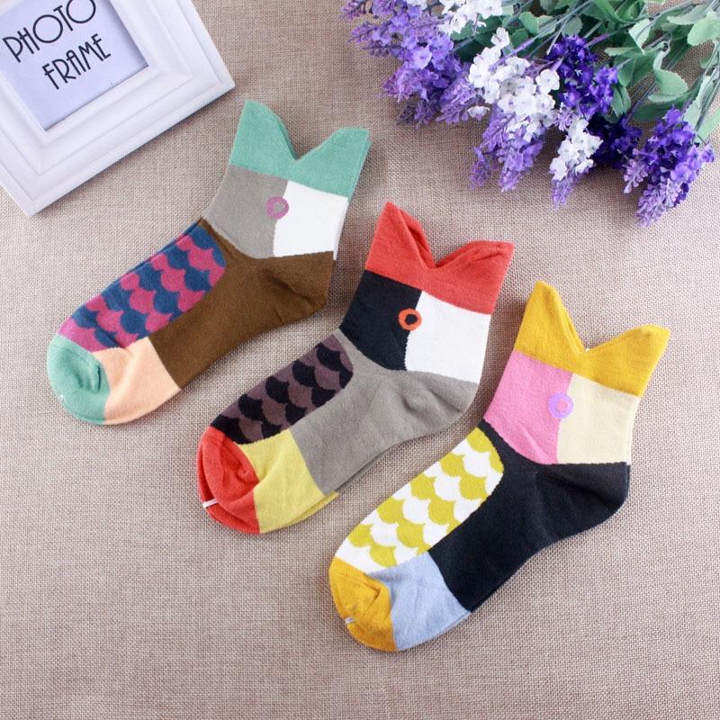 2017 Woman Fun Fashion Plaid Sock Christmas Gift Cotton Pattern Socks (3Pairs) Standard Size