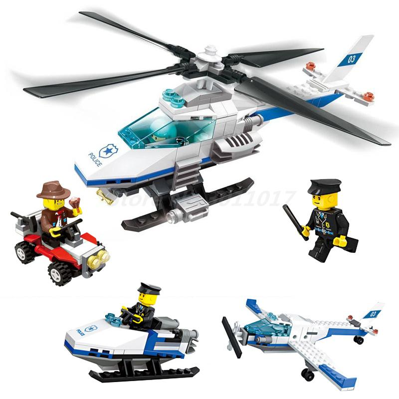 WANGE Helicopter 3 In 1 206 Pcs City Police Series DIY Model Building Block Set Collection Educational Toys For Children Gifts jie star police pickup truck 3 kinds deformations city police building block toys for children boys diy police block toy 20026