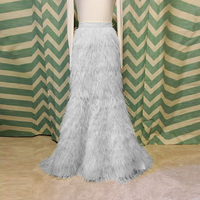 Luxury Feather Long Mermaid Skirts For Lady To Prom Party Custom Made Aso Ebi Floor Length Feather Skirt Women 2018 Abiye