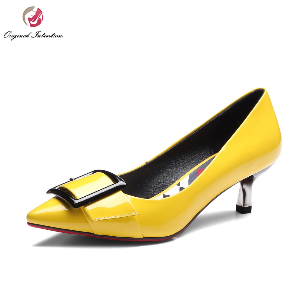 Original Intention New Popular Women Pumps Fashion Pointed Toe Thin Heels Pumps Cow Leather Yellow Grey Shoes Woman US Size 4-10