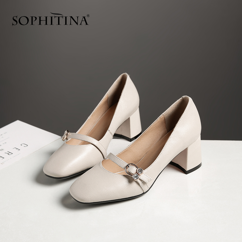 SOPHITINA 2019 New Spring Pumps Genuine Leather Mary Janes Women s Square Toe Party Sweet Shoes