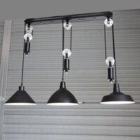 kitchen industrial lighting Bar Vintage adjustable pulley pendant lamp dining room pendant ajustable light hanging lamp led bulb