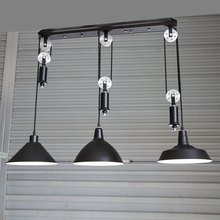 Cocina industrial de iluminación bar de la vendimia ajustable polea colgante lámpara colgante comedor lámpara de techo de luz ajustable led bombilla
