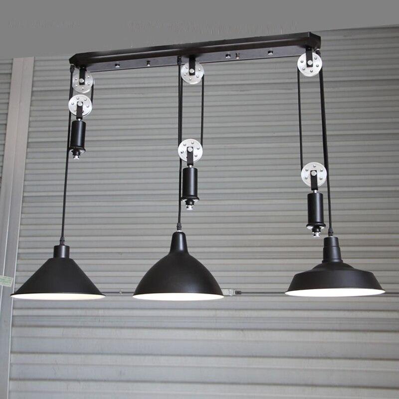 kitchen industrial lighting Bar Vintage adjustable pulley pendant lamp dining room pendant ajustable light hanging lamp led bulb цена