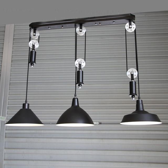Kitchen Industrial Lighting Bar Vintage Adjustable Pulley Pendant Lamp Dining Room Ajustable Light Hanging