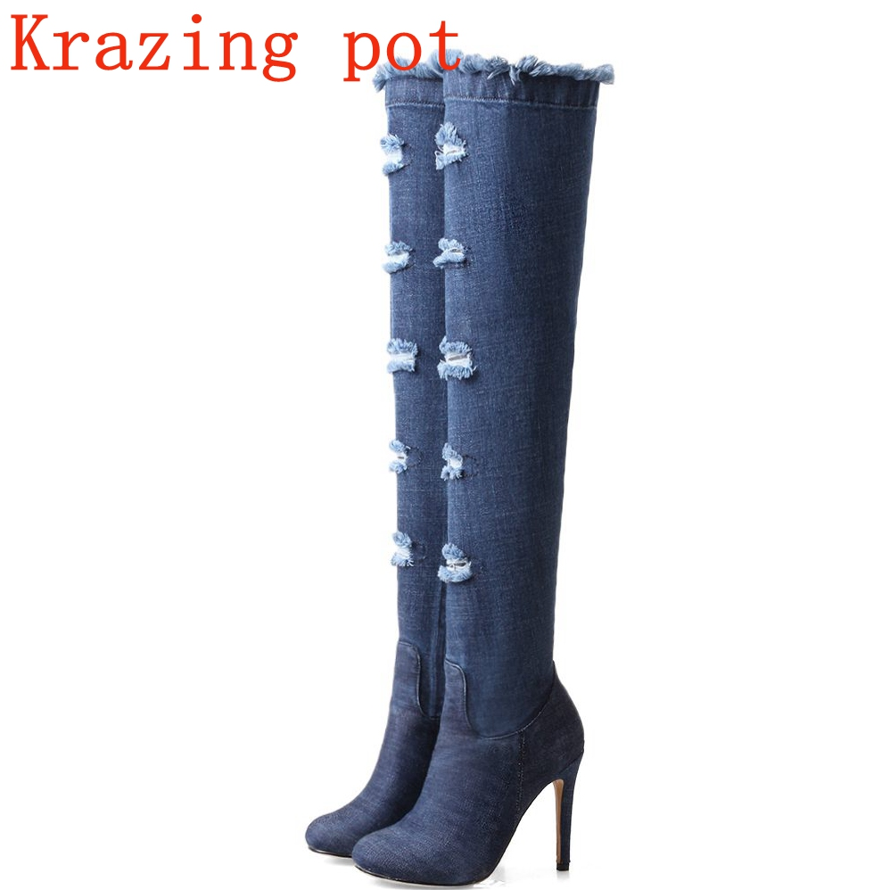 Krazing pot 2018 deni round toe stiletto high heel fashion boots plus size winter keep warm superstar over-the-knee boots L9f2 deni bown encyclopedia of herbs