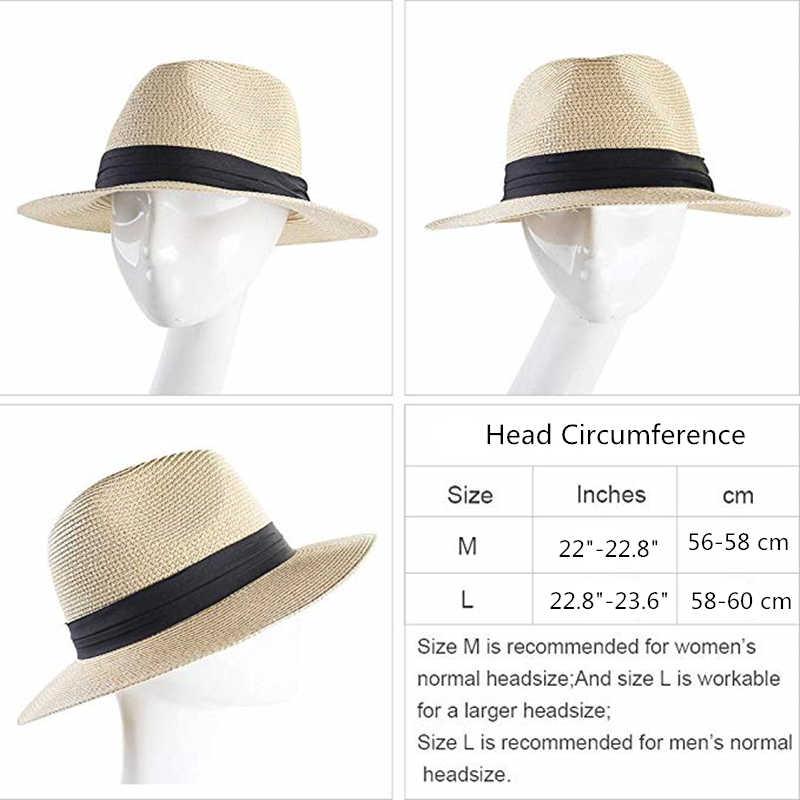 M/änner Hut Sonnenhut Strohhut Panama Style Sommer zusammenklappbar Strand Sun Jazz Cap Damen Strand Hut