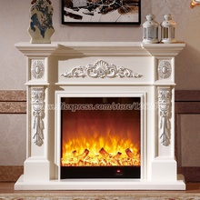 living room decorating warming fireplace W120cm wooden fireplace mantel plus electric fireplace insert LED artificial flame