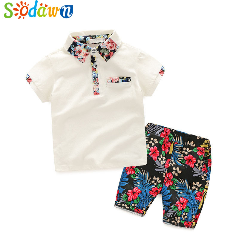 Sodawn 2017 New Summer Style Boy Clothing Sets Lapel POLO Short-Sleeved Shirt+Floral pants Casual Suits Kids Boys Clothing 2-7y