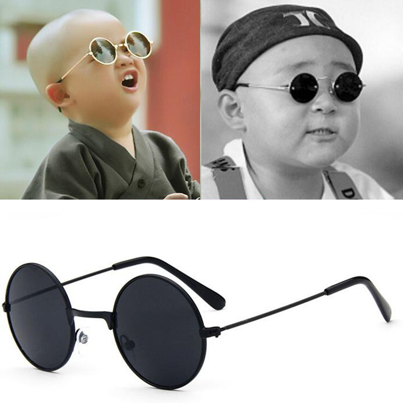 Metal Black Round Kids Sunglasses Brand little girl/boy Baby Child Glasses goggles oculos UV400 Small face Suit For 2~6 age