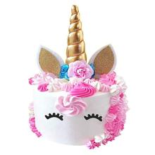 METABLE 2Pack Gold Unicorn Birthday Cake Toppers set. Horn, Ears and flowers Set. Party Decoration, wedding