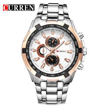 CURREN-Reloj de pulsera de acero inoxidable Reloj para hombres hombre